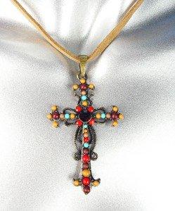 Antique Burnished Gold Garnet Crystal Beads Cross Suede Necklace Earrings Set