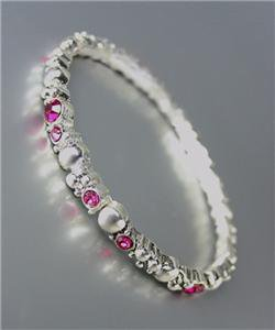 CLASSIC NEW Brighton Bay Silver Dots Metal Pink CZ Crystals Stretch Bracelet