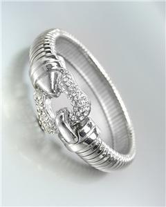 GORGEOUS Designer Style Silver CZ Crystals Buckle Latch Omega Band Bracelet