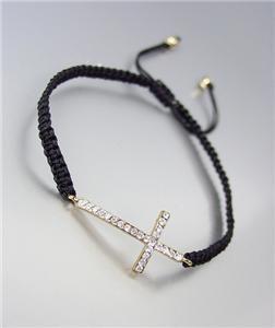 INSPIRATIONAL Petite 18kt Gold Plated CZ Crystals Cross Thin Black Cord Bracelet