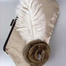 Chic Beige Satin Flower Bouquet Plume Feather Clutch Evening Purse Bag