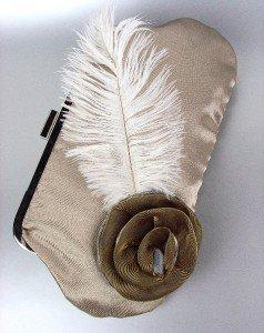 Chic Beige Satin Flower Bouquet Plume Feather Clutch Evening Purse Bag