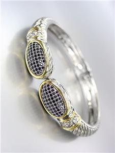 CLASSIC Pave Black Onyx CZ Crystals Oval End Tips Silver Hinged Bangle Bracelet