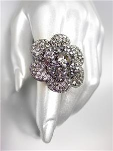 SHIMMERY Smoky Black Diamond Marcasite Crystals Gun Metal Flower Cocktail Ring