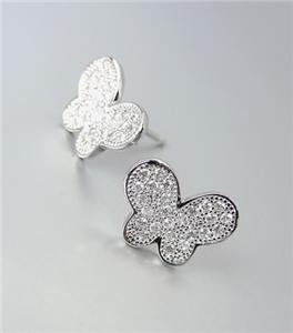 ELEGANT 18kt White Gold Plated Pave CZ Crystals Butterfly Petite Post Earrings
