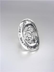 INSPIRATIONAL Scripture Silver Oval AMAZING GRACE Crystals Filigree Stretch Ring