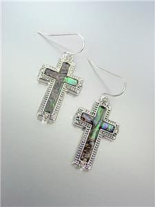 NEW Brighton Bay Silver Dots Mother of Pearl Shell CZ Crystals Cross Earrings