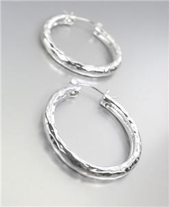 """CLASSIC Silver Hammered Texture Metal 1 1/4"""" Diameter Round Hoop Earrings"""