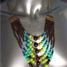 Urban Anthropologie Blue Multicolor Faux Stone Wood Beads Necklace Earrings Set