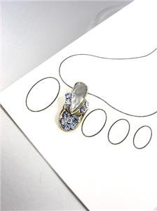 ADORABLE Blue Crystals FLIP FLOP Silver Invisible Illusion PETITE Toe Ring