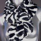 CHIC Black White Zebra Pattern Faux Fur Ruffles Elastic Wrap Scarf SM