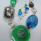 EXQUISITE Green Jade Cabachon Blue Agate Smoky Quartz Hematite Necklace Set