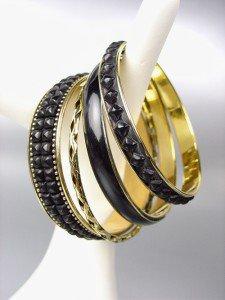 CHIC 4 PC Byzantine Black Resin Beads Enamel Antique Gold Brass Bangles Bracelet