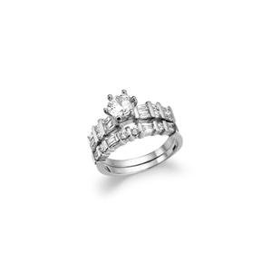 CLASSIC 2.00 CT Round Cut CZ 18kt White Gold Plated 2pc Engagement Wedding Rings