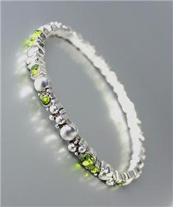 CLASSIC NEW Brighton Bay Silver Dots Metal Olive CZ Crystals Stretch Bracelet