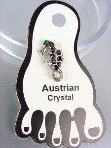 ADORABLE Dark Garnet Red Austrian Crystal SEA HORSE Invisible PETITE Toe Ring