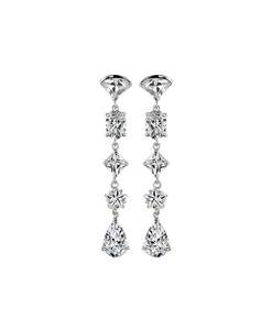 STUNNING 18kt White Gold Plated Tear Drop 2.25 CT CZ Crystal Dangle Earrings