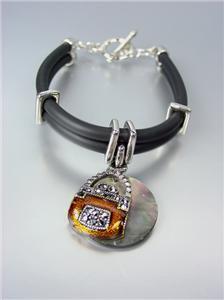 NATURAL Sea Shell Marcasite Crystals BAG PURSE Charm Black Rubber Cords Bracelet