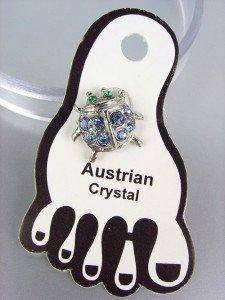 ADORABLE Blue Austrian Crystal LADYBUG Lady Bug Invisible PETITE Toe Ring