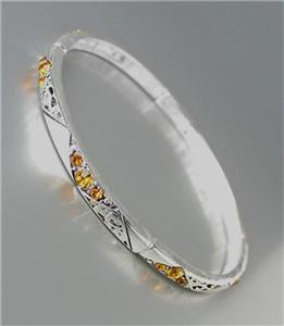 NEW Brighton Bay Thin Silver Filigree Brown Topaz CZ Crystals Stretch Bracelet