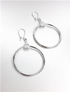 CHIC Designer Inspired Silver CZ Crystals Horsebit Ring Dangle Earrings