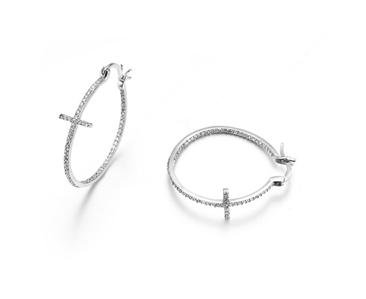"""CLASSIC 18kt White Gold Plated Inside Outside CZ Crystals CROSS 1"""" Hoop Earrings"""