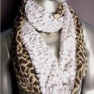 WARM EXOTIC Brown Beige Leopard Knit Faux Fur Chinchilla Infinity Eternity Scarf