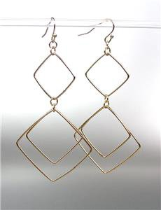 """CHIC SEXY Lightweight Gold Plated Wire Squares 3 1/4"""" Long Dangle Earrings"""
