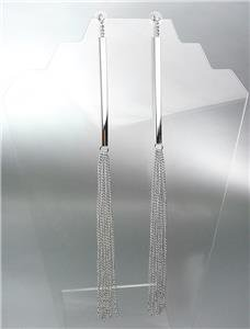 CHIC & SEXY Extra Long Silver Metal Bar Chains Crystal Shoulder Duster Earrings