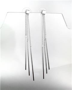 CHIC & SEXY Urban Anthropologie 3 Silver Chain Graduated Stick Dangle Earrings