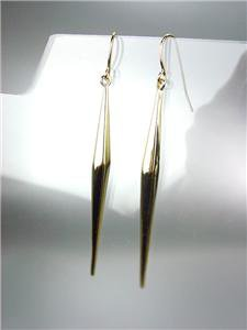 "CHIC UNIQUE & SEXY Thin Gold Graduated Beveled Bar 3"" Long Dangle Earrings"