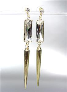 CHIC & SEXY Basketball Wives GOLD Metal SPIKE Crystal Long Dangle Post Earrings