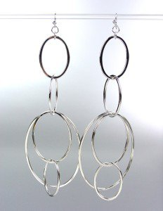 Sexy Basketball Wives Style Silver Oval Rings Long Drip Dangle Earrings