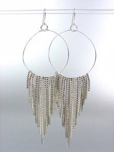 Sexy Basketball Wives Style Silver Metal Box Chains Ring Dangle Earrings