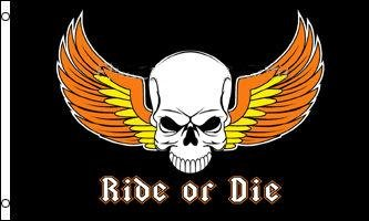 BIKER RIDE OR DIE Motorcycle FLAG, 3'x5' cloth poster banner FLAG