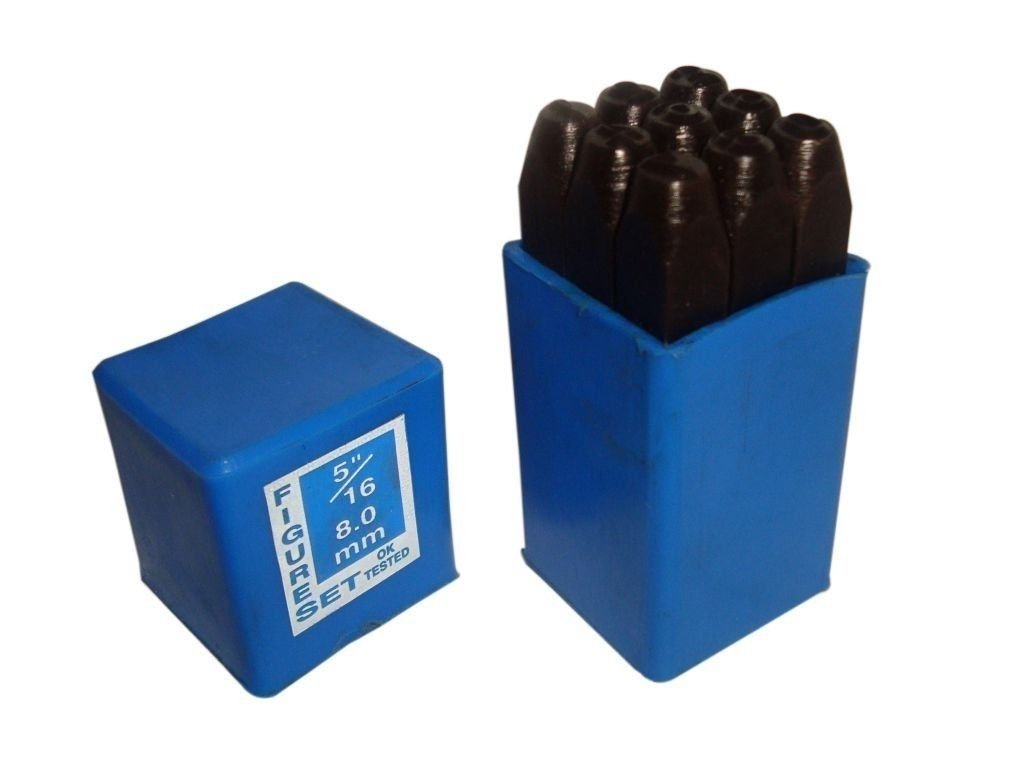 Hand Metal Marking Punches Number Stamps in Plastic Box 8mm 5/16 Inch (9 pcs)