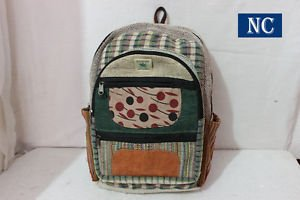 Pure Hemp Multi Pocket Canvas Backpack Handmade Nepal with Laptop Sleeve, Bag