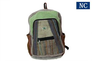 100% Pure Hemp Multi Color Backpack Handmade Nepal with Laptop Sleeve - Fashion