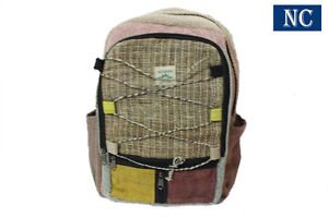 Nepali Pure Hemp Multi Pocket Canvas Backpack with Laptop Sleeve - Bookbags
