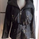Andrew Marc New York Womens S Black Leather Hooded Belted Tie Sash Jacket Coat