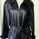 Vintage Otello Pelle Belted Black Leather jacket womens size large Short Coat