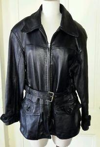 Vintage Otello Pelle Belted Black Leather jacket womens size large Short Coat