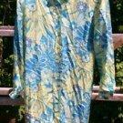 Bob Mackie Studio designer Silk Shirt Shift dress womens size 4 floral blue L/S