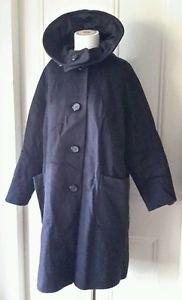 Vintage Cowl/Cape style collar Wool Dress Over Coat Womens size 4-6 Black