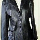 Vintage 80s Wilsons Leather Black Blazer Style Jacket Car Coat womens M 1985