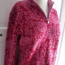 Womens Neve Designs 100% New Wool Floral Print 1/4 Zip Pullover Sweater Jacket M