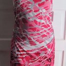 NWT $128 Women's Calvin Klein Ruched Sides Scoop Neck Bodycon Geranium Dress 6