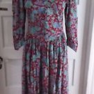 Vintage 70's Jane Schaffhausen Belle France Floral Midi Modest Dress Womens 10