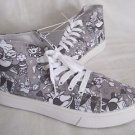 NEW Disney Alice In Wonderland Gray Hi Tops Athletic Sneakers Shoes Womens 9