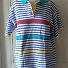 Vintage Lecomte Knit Polo Short Sleeve Striped shirt sweater womens size M/L